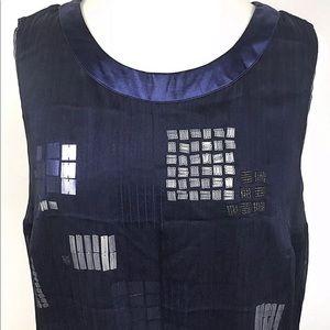 Blue formal zip up sleeveless sequin tunic